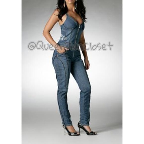 28e2e29912 Dereon Pants - Moto denim jean bustier corset jumpsuit overalls